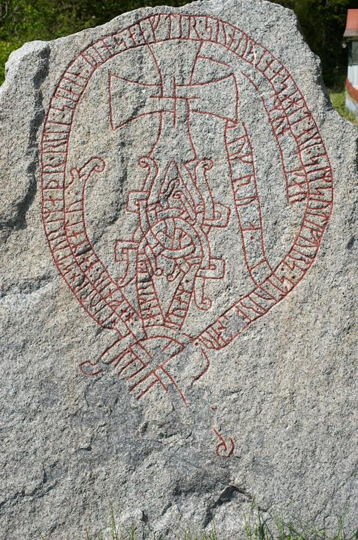 Runes written on runsten, ljus grovkornig granit. Date: V b 1000-t